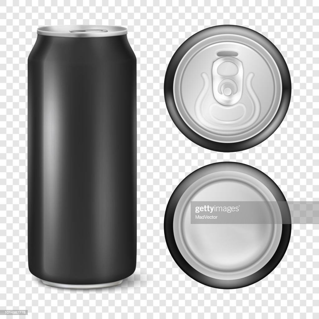 Vector realistic 3d empty glossy metal black aluminium beer pack or can visual 500ml. Can be used for lager, alcohol, soft drink, soda, fizzy pop, lemonade, cola, energy drink, juice, water etc. Icon set closeup isolated on transparency grid background