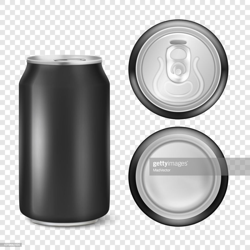 Vector realistic 3d empty glossy metal black aluminium beer pack or can visual 330ml. Can be used for lager, alcohol, soft drink, soda, fizzy pop, lemonade, cola, energy drink, juice, water etc. Icon set closeup isolated on transparency grid background