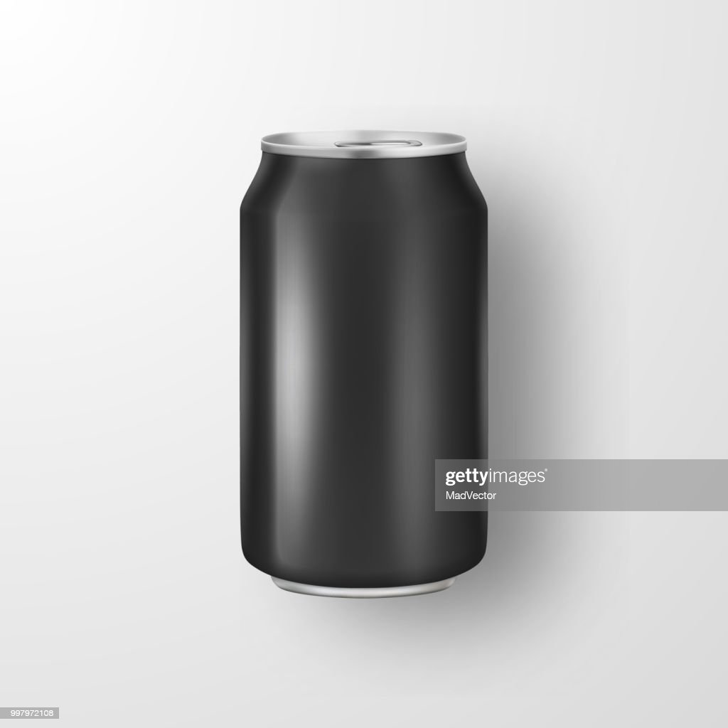 Vector realistic 3d empty glossy metal black aluminium beer pack or can visual 330ml. Can be used for lager, alcohol, soft drink, soda, fizzy pop, lemonade, cola, energy drink, juice, water etc. Icon closeup isolated on white background. Design template