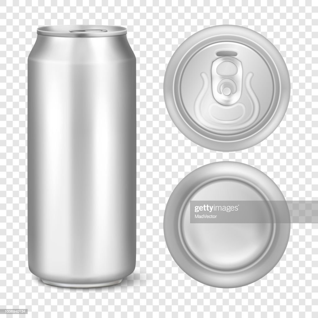 Vector realistic 3d empty glossy metal silver aluminium beer pack or can visual 500ml. Can be used for lager, alcohol, soft drink, soda, fizzy pop, lemonade, cola, energy drink, juice, water etc. Icon set closeup isolated on transparency grid background.