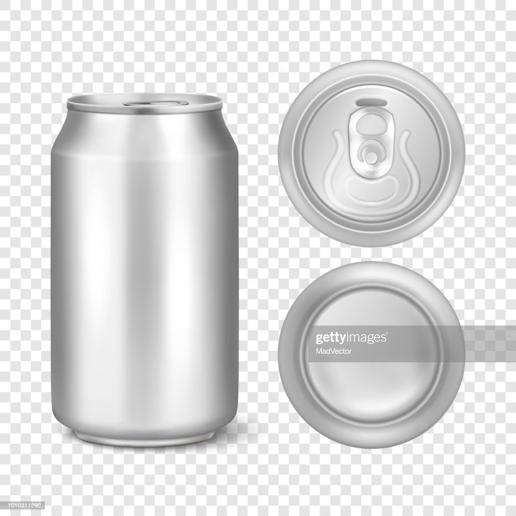 Vector realistic 3d empty glossy metal silver aluminium beer pack or can visual 330ml. Can be used for lager, alcohol, soft drink, soda, fizzy pop, lemonade, cola, energy drink, juice, water etc. Icon set closeup isolated on transparency grid background.