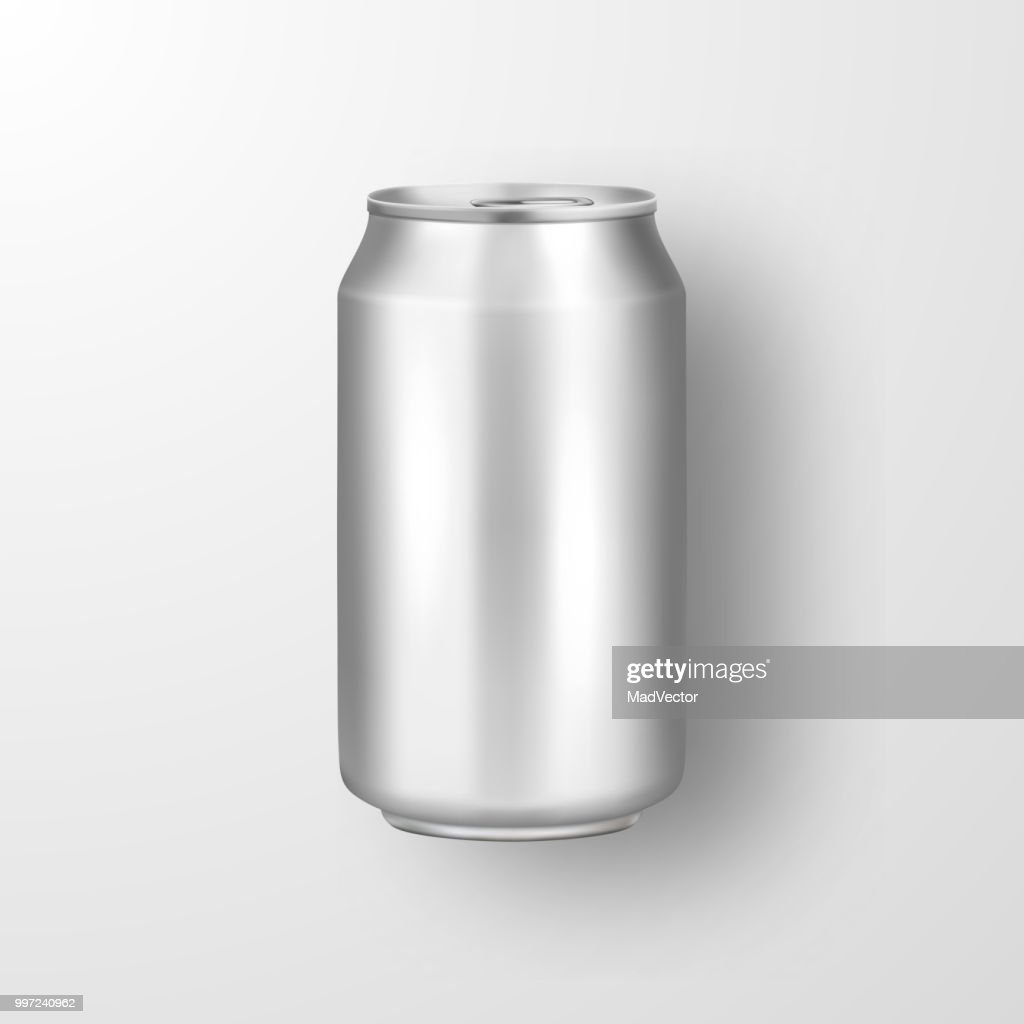 Vector realistic 3d empty glossy metal silver aluminium beer pack or can visual 330ml. Can be used for lager, alcohol, soft drink, soda, fizzy pop, lemonade, cola, energy drink, juice, water etc. Icon closeup isolated on white background. Design template
