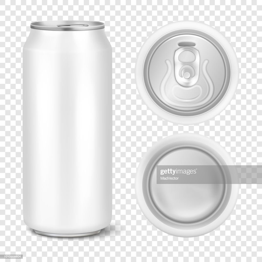 Vector realistic 3d empty glossy metal white aluminium beer pack or can visual 500ml. Can be used for lager, alcohol, soft drink, soda, fizzy pop, lemonade, cola, energy drink, juice, water etc. Icon set closeup isolated on transparency grid background. D