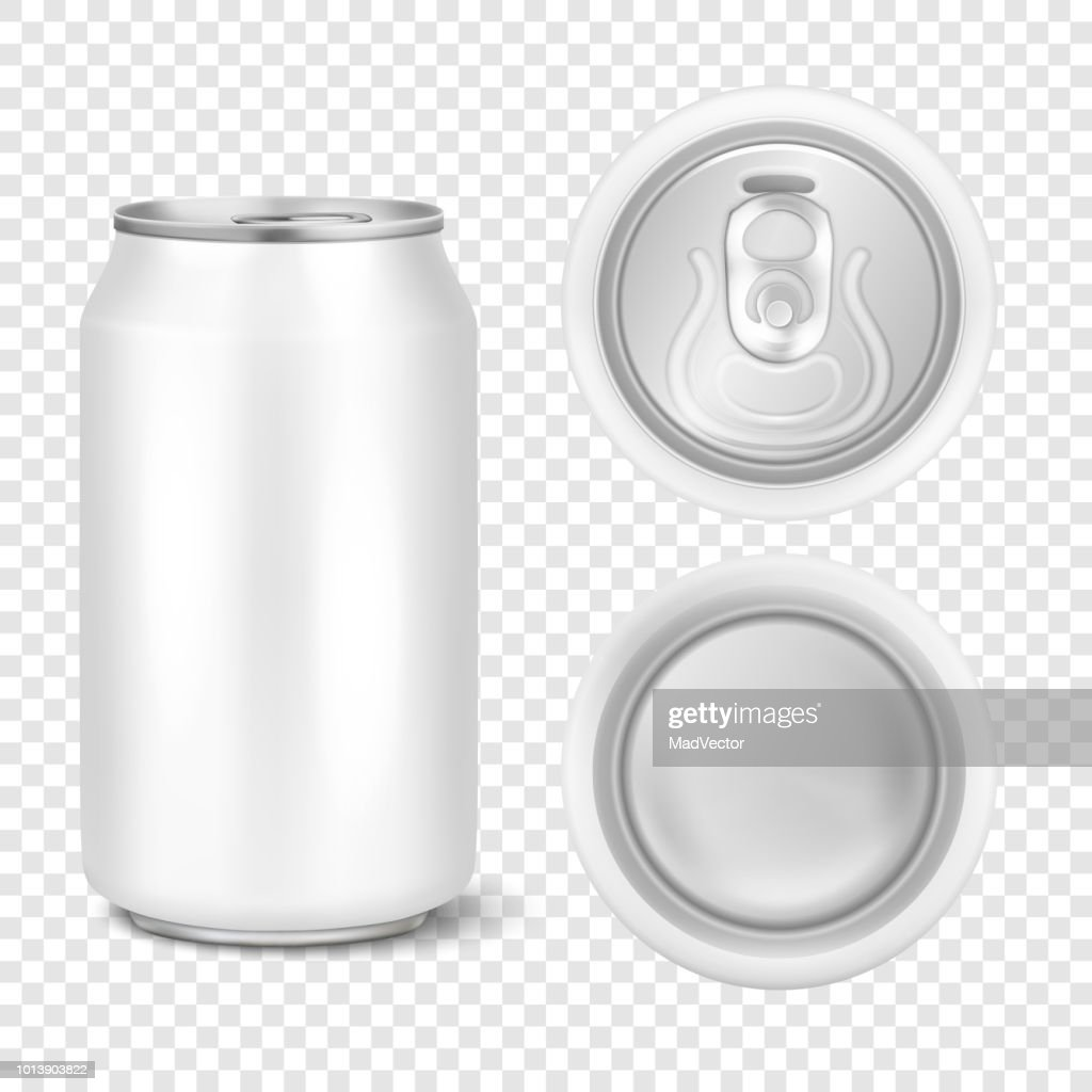 Vector realistic 3d empty glossy metal white aluminium beer pack or can visual 330ml. Can be used for lager, alcohol, soft drink, soda, fizzy pop, lemonade, cola, energy drink, juice, water etc. Icon set closeup isolated on transparency grid background