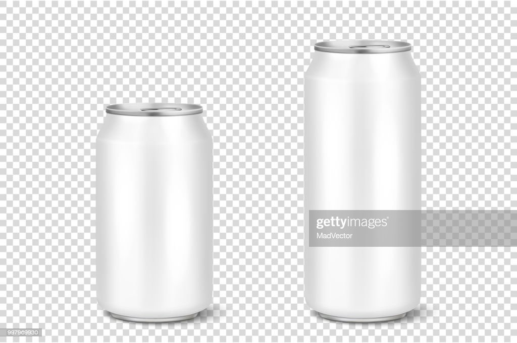 Vector realistic 3d empty glossy metal white aluminium beer pack or can visual 330ml 500ml. Can be used for lager, alcohol, soft drink, soda, fizzy pop, lemonade, cola, energy drink, juice, water etc. Icon set closeup isolated on transparency grid