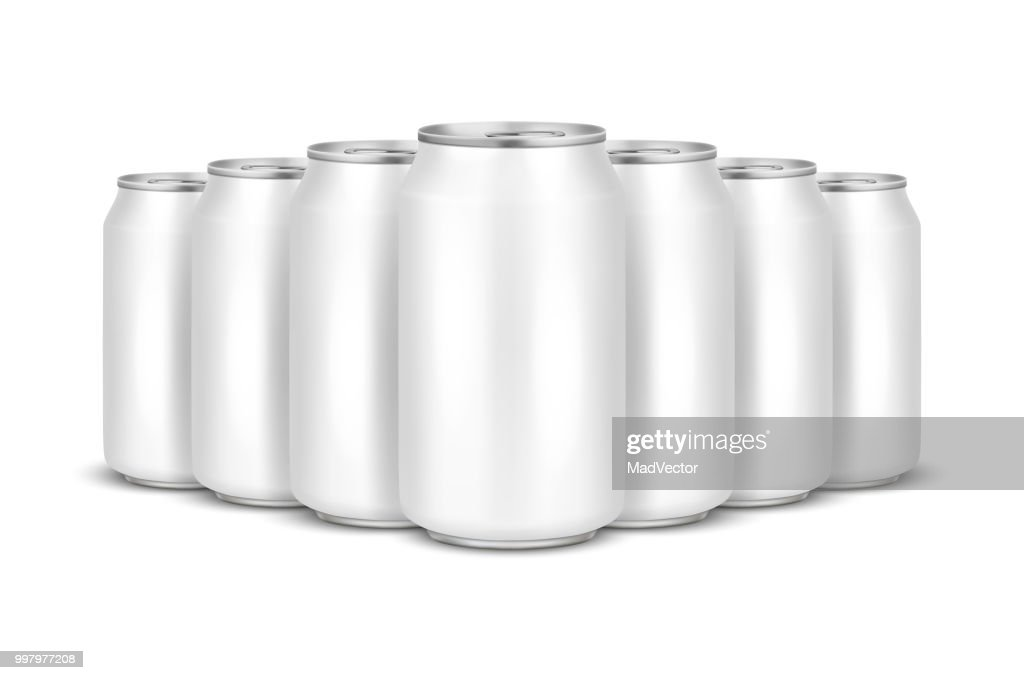 Vector realistic 3d empty glossy metal white aluminium beer pack or can visual 330ml stack. Can be used for lager, alcohol, soft drink, soda, fizzy pop, lemonade, cola, energy drink, juice, water etc. Closeup isolated on white background. Design template