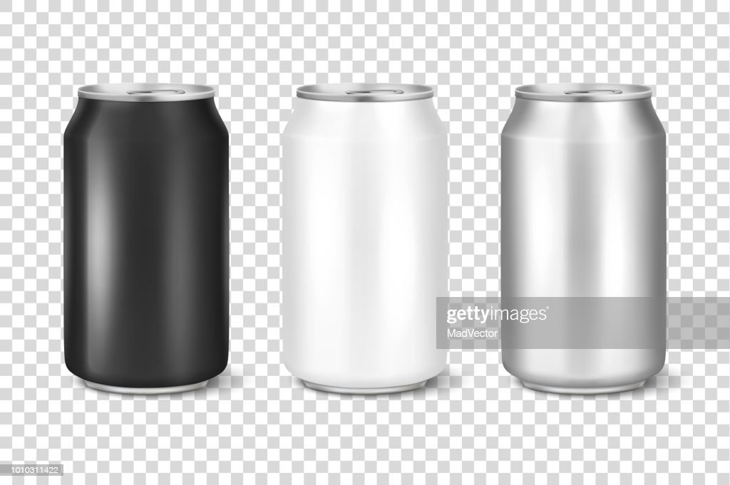Vector realistic 3d empty glossy metal white, black and silver aluminium beer pack or can set visual 330ml. Can be used for lager, alcohol, soft drink, soda, fizzy pop, lemonade, cola, energy drink, juice, water etc. Closeup isolated on transparency grid