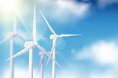 Vector realistic 3d illustration of wind turbine generator. Alternative eco energy technologies concept.