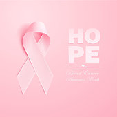 Vector realistic 3d pink silk ribbon breast cancer
