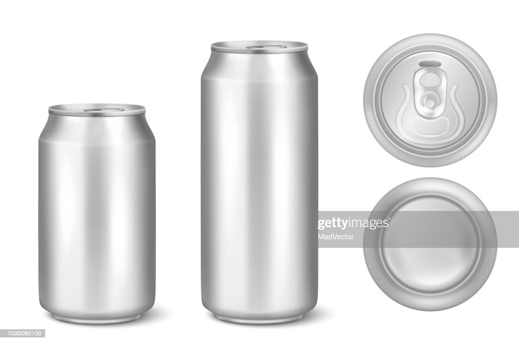 Vector realistic 3d silver empty glossy metal black aluminium beer pack or can visual 330ml 500ml. Can be used for lager, alcohol, soft drink, soda, fizzy pop, lemonade, cola, energy drink, juice, water etc. Icon set closeup isolated onwhite background