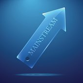 Vector realistic 3d transparent gradient arrow on blue background