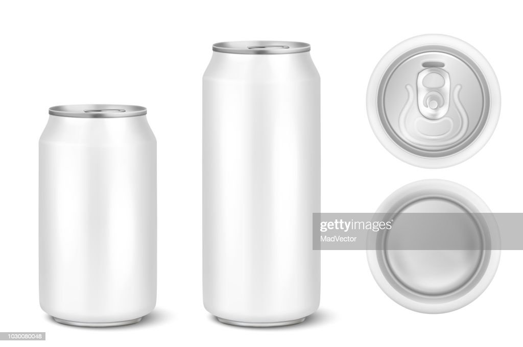 Vector realistic 3d white empty glossy metal black aluminium beer pack or can visual 330ml 500ml. Can be used for lager, alcohol, soft drink, soda, fizzy pop, lemonade, cola, energy drink, juice, water etc. Icon set closeup isolated onwhite background