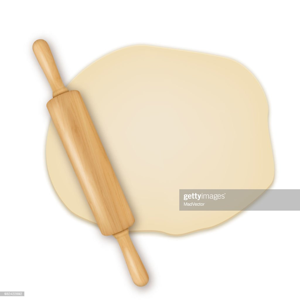 Vector realistic 3D wooden rolling pin on roll out the dough closeup isolated on white background. Design template for graphics