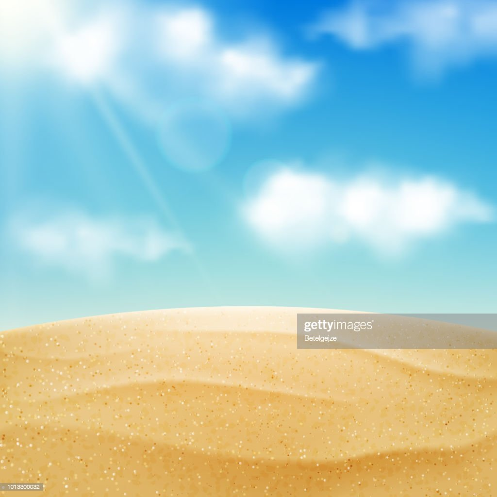 Vector realistic beach landscape. Yellow sand desert and blue sky with clouds. Summer vacation background