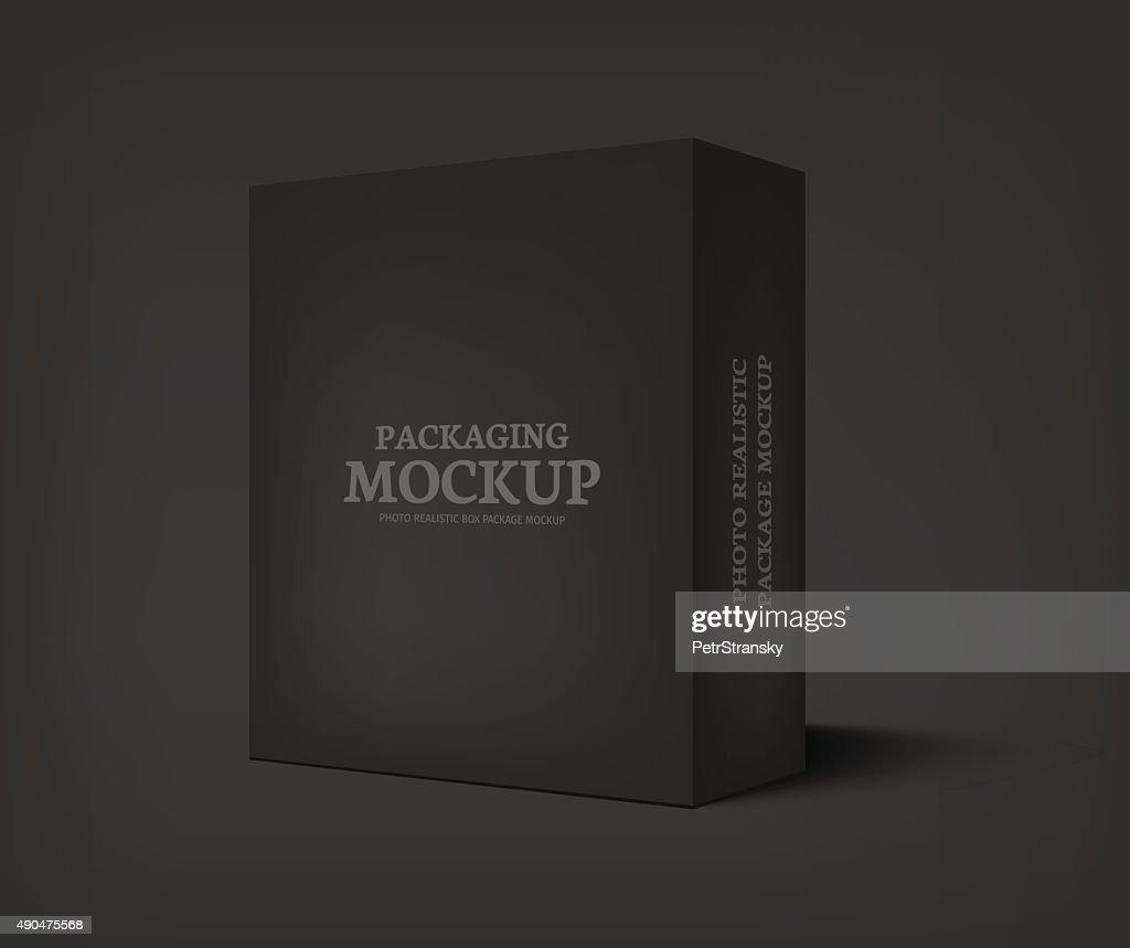Vector realistic black box on dark gray background