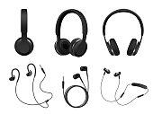 Vector realistic black headphone icon set