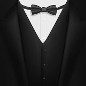 Vector Realistic Black Suit. Photorealistic 3D Mens Elegant Tuxedo Suit with Bow Tie