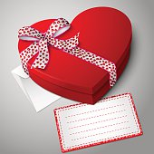 Vector realistic blank bright red heart shape box, with envelope