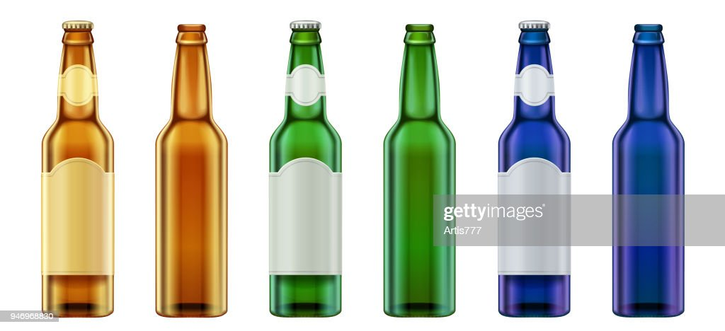 Vector Realistic blank green, yellow and blue glass beer bottle design set.