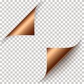Vector realistic bronze foil paper corners
