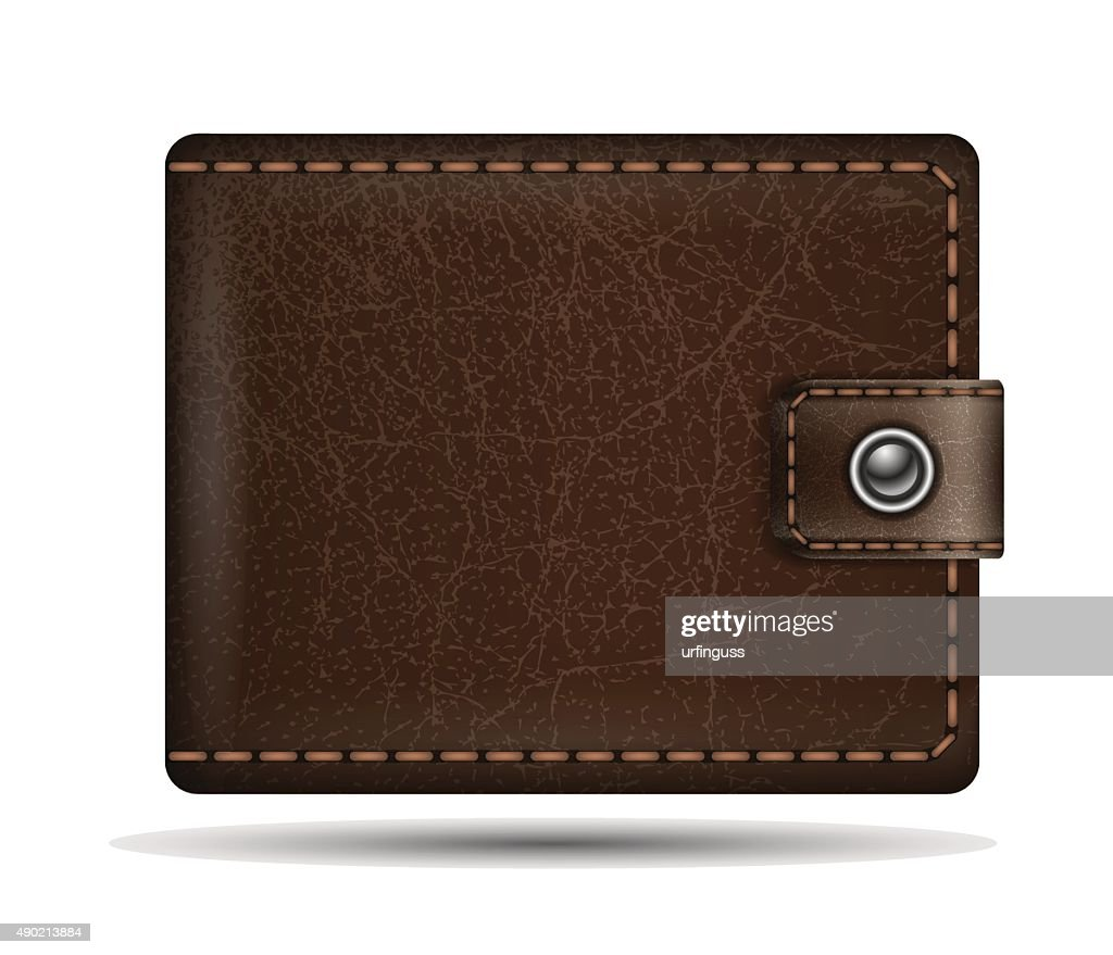 Vector realistic brown leather wallet