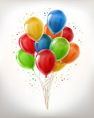 Vector realistic bunch of flying glossy balloons