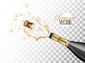 vector realistic champagne explosion closeup