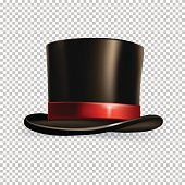 Vector realistic cylinder hat isolated on transparent background.