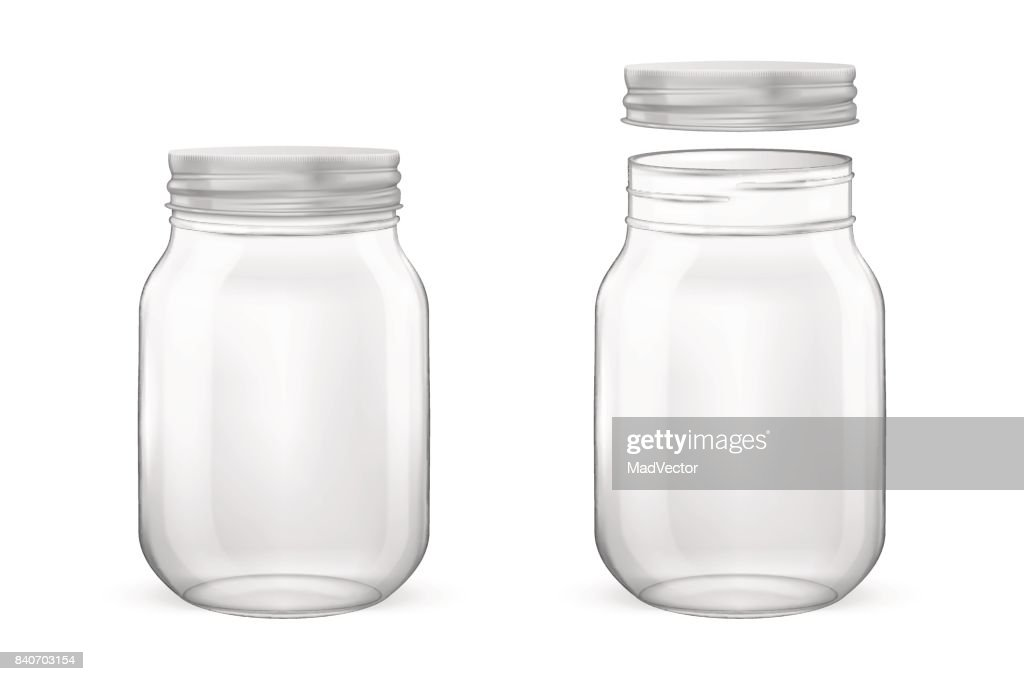 Vector realistic empty glass jar for canning and preserving set with silvery lid - open and closed - closeup isolated on white background. Design template for advertise, branding, mockup. EPS10