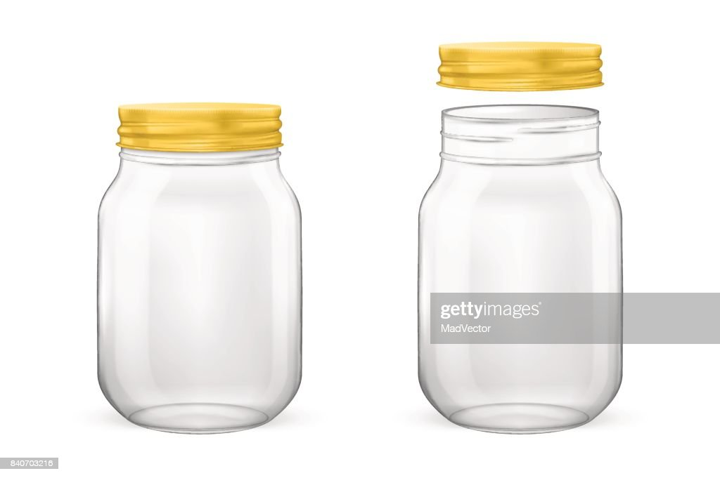 Vector realistic empty glass jar for canning and preserving set with golden lid - open and closed - closeup isolated on white background. Design template for advertise, branding, mockup. EPS10