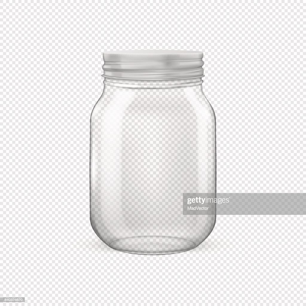 Vector realistic empty glass jar for canning and preserving with silvery lid closeup isolated on transparent background. Design template for advertise, branding, mockup. EPS10