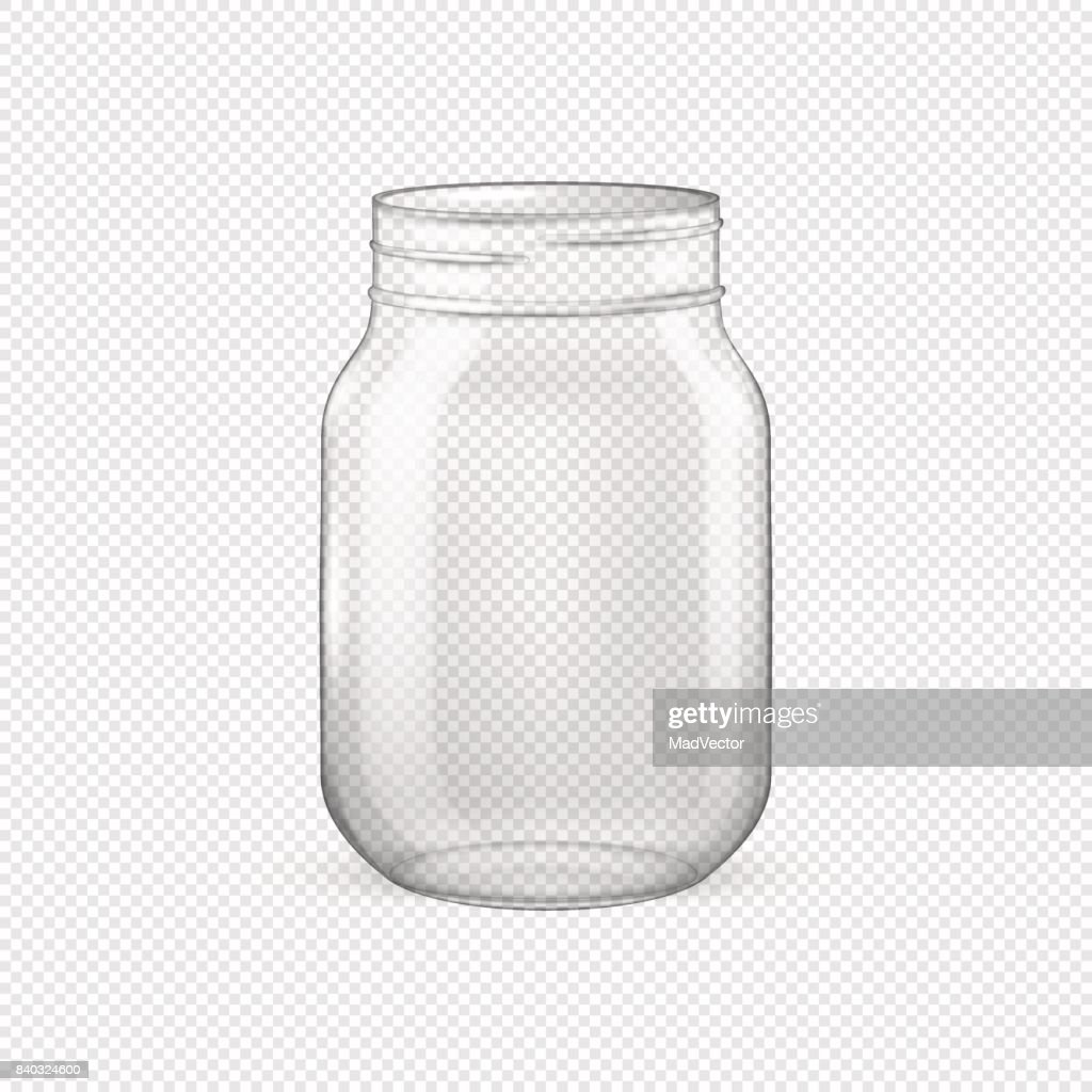 Vector realistic empty glass jar for canning and preserving without lid closeup isolated on transparent background. Design template for advertise, branding, mockup. EPS10