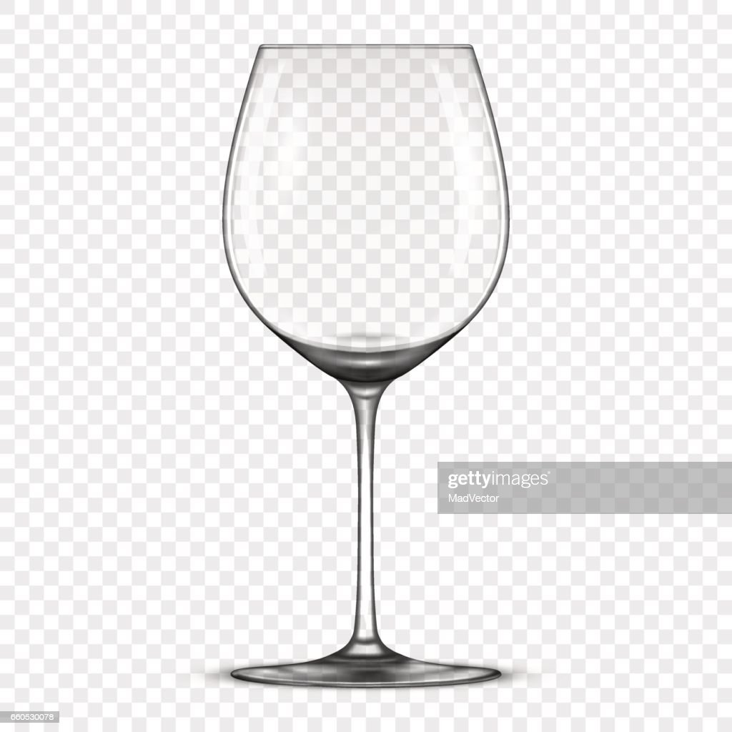 Vector realistic empty wine glass icon isolated on transparent background. Design template in EPS10