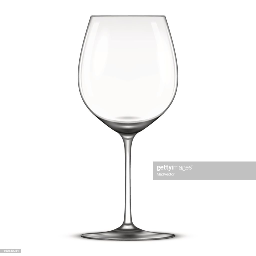 Vector realistic empty wine glass icon isolated on white background. Design template in EPS10