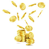 Vector realistic falling gold coins, rain of money