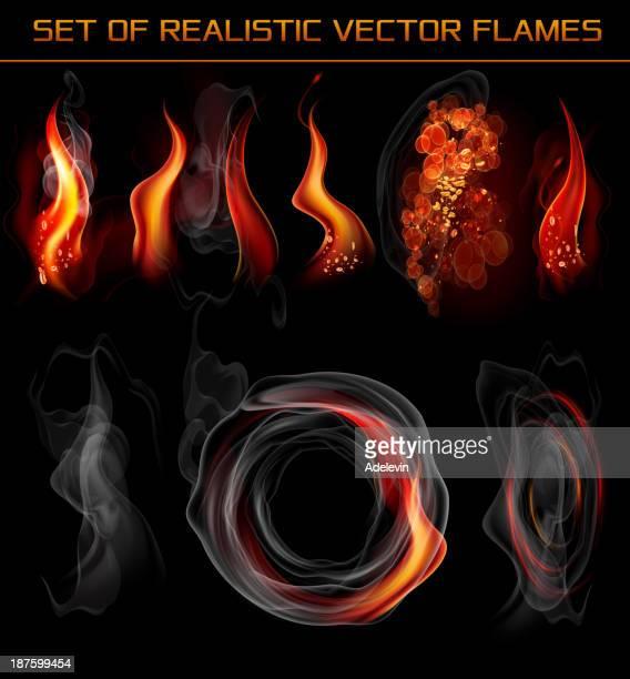 vector realistic flames and smoke - smoke stock illustrations, clip art, cartoons, & icons