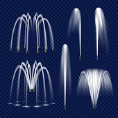 Vector realistic fountain with water jet icon set