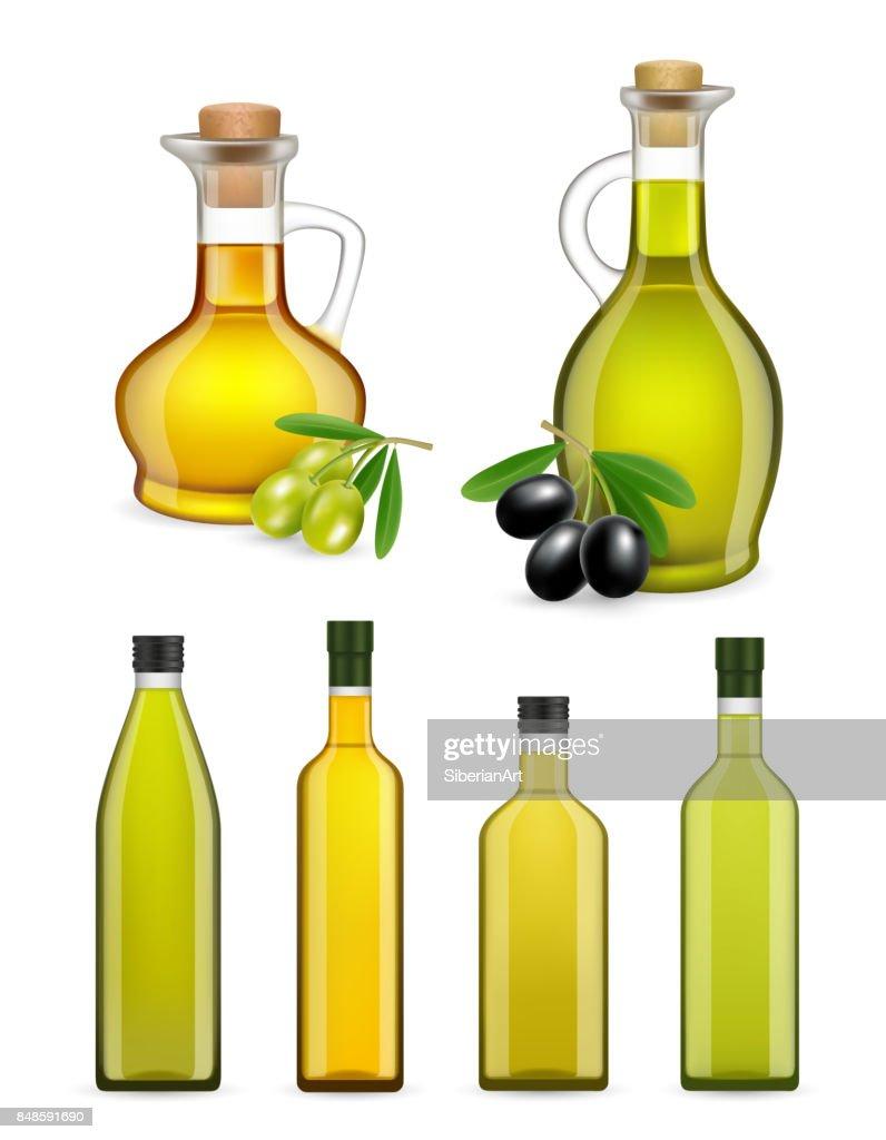 Vector realistic glass olive oil bottles and jars set