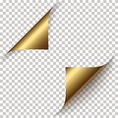 Vector realistic golden foil paper corners