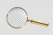 Vector realistic golden magnifier isolated on transparent background.