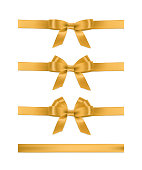 Vector realistic golden ribbons and bows. Set of holiday design elements.