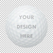 Vector realistic golf ball icon. Closeup isolated on transparency grid background. Sports ball design template, mockup for graphics, printing etc