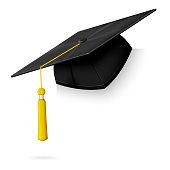 Vector realistic graduation cap hang on the corner