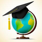 Vector realistic graduation cap hang on the globe