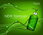 Vector realistic, green, transparent bottle 3d with soap pump  on background green bubbles (drops) and abstract waves  . Cosmetic vial wish shampoo,gel. Elements, template for cosmetic business, advertising, promotion