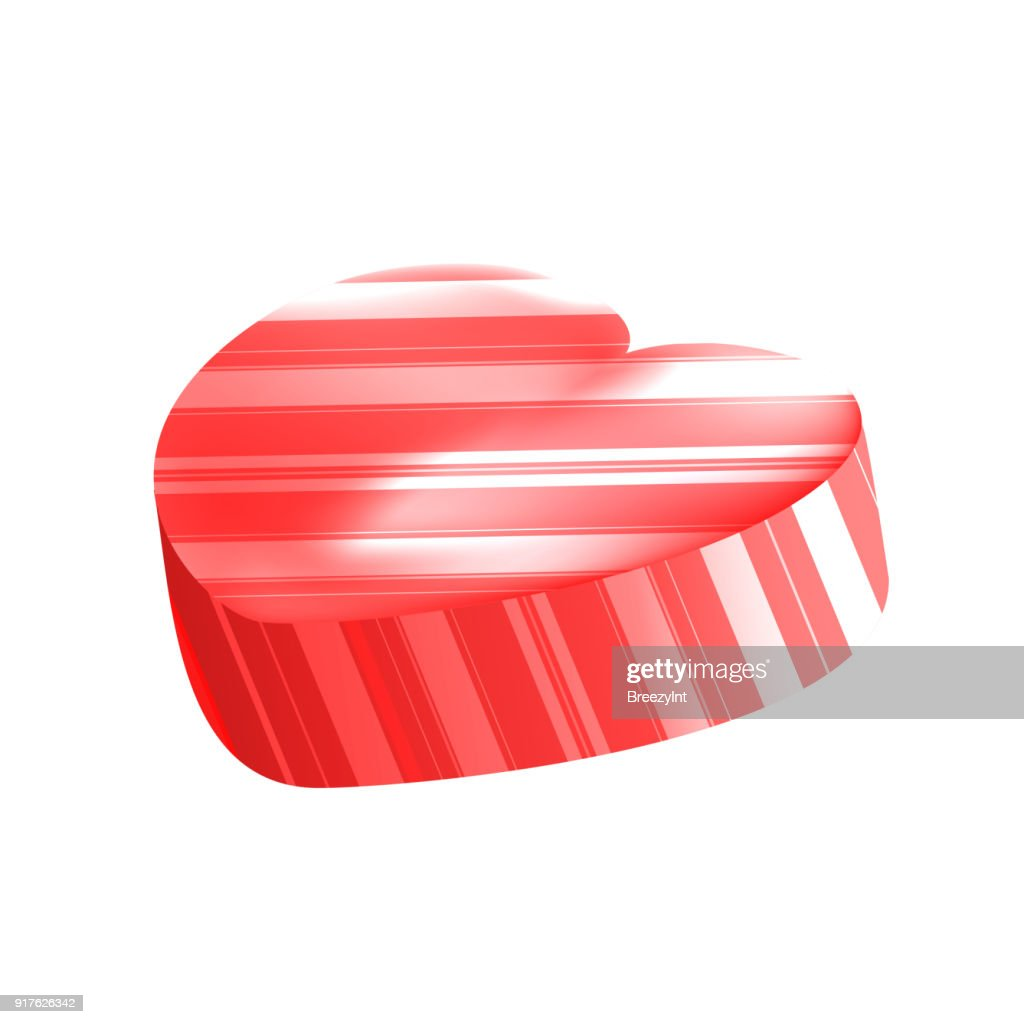 Vector Realistic Heart Lollipop with Stripes Isolated on White Background