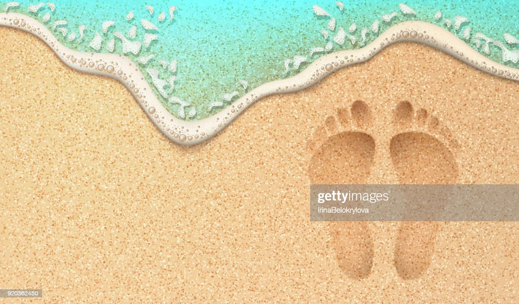 Vector realistic human footprint on sea beach sand
