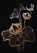 Vector realistic illustration of lotus flowers and leaves on black background.. Design for natural cosmetics, health care and ayurveda products, yoga center.