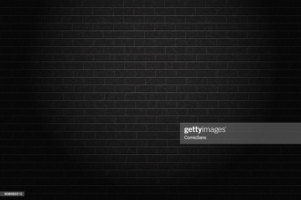 Vector realistic isolated black brick wall background for decoration and covering.