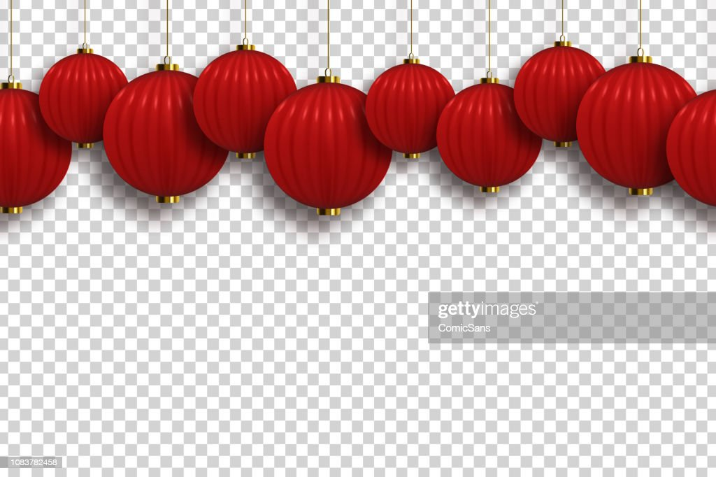Vector realistic isolated Chinese Lantern seamless pattern border for template decoration and covering on the transparent background. Concept of Happy Chinese New Year.